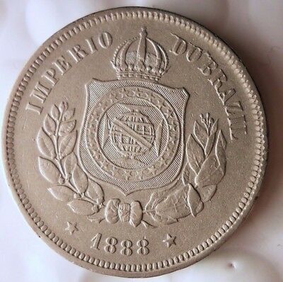 1888 BRAZIL 100 REIS - AU - Big Value - Very Scarce Coin - Lot #110