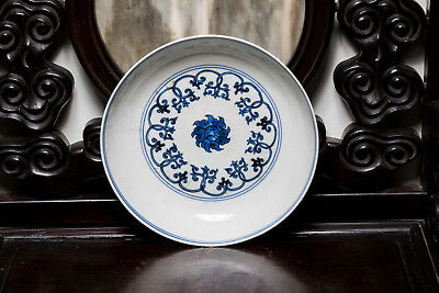 19th or Later Copy Ming Style Chinese Antique Blue and White Floral Dish ETR115