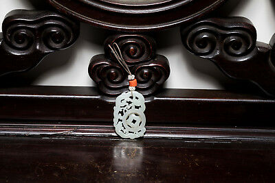 18-19th or Later Chinese Antique White Jade Pendant ETR152-1