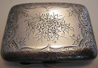 Heavy Antique Solid Sterling Silver Cigarette Vesta Card Case English Victorian