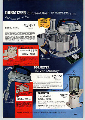 1956 PAPER AD 2 Sided Dormeyer Chrome Silver Chef Meal Maker Food Mixer
