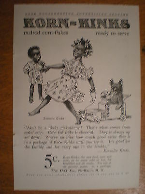 1907 KORN KINKS Corn Flakes KORNELIA Kids Cart TEDDY BEAR Black AMERICANA AD