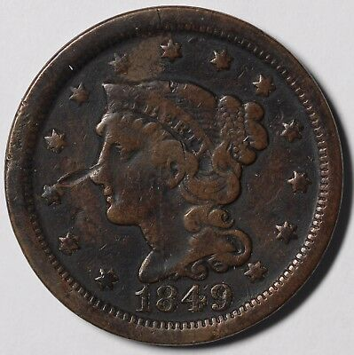 1849 1c Braided Hair Large Cent UNSLABBED