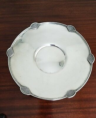 English sterling silver art deco platter pedestal dish,William Neal & sons