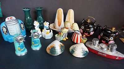 9 Vintage Salt & Pepper Shakers  Plastic Napco Enco Japan China