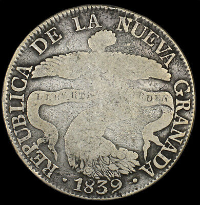 1839 Bogota Colombia 8 Reales Silver Coin Circulated