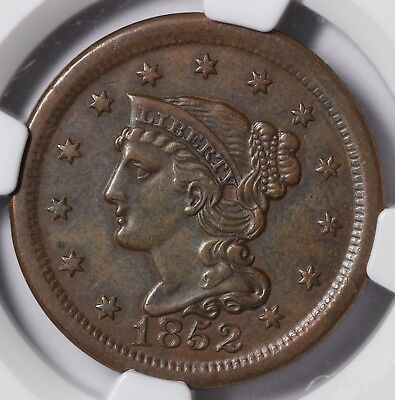 1852 1c Braided Hair Large Cent NGC AU DETAILS CLEANED