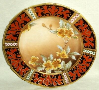 """Nippon Plate Moriage Hand Painted Flowers Gold Rust 8"""""""