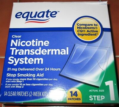 Equate clear nicotine transdermal system 21mg delivered over 24 hours 14 patches