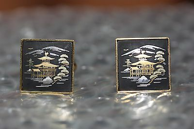 "Damascene Cufflinks Signed ""Amita"" Gold Tone Vintage Kyoto Japan"