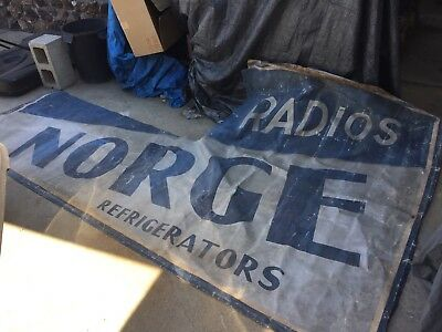 Antique Advertising Canvas Sign Norge Refrigerator Radios Stove?
