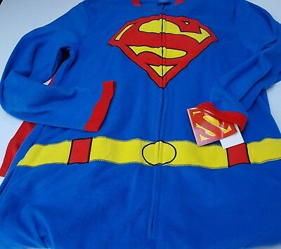 Superman DC Comics Sleepwear Pajamas Costume PJS One Piece Fleece Men Cape TM M
