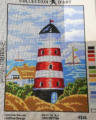 LIGHTHOUSE (RED & WHITE) - Tapestry/Needlepoint Canvas (NEW) Collection D'Art