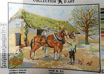 FARM HORSES & FARMER - Tapestry/Needlepoint Canvas (NEW) Collection D'Art