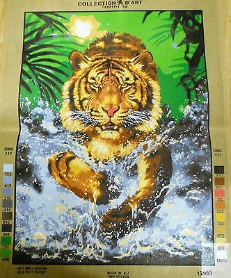 TIGER SPLASHING THROUGH WATER - Tapestry/Needlepoint Canvas (NEW) by GRAFITEC