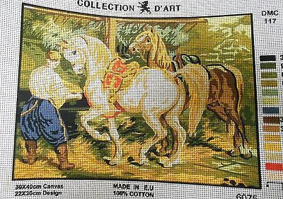 2 HORSES - Tapestry/Needlepoint Canvas (NEW) Collection D'Art