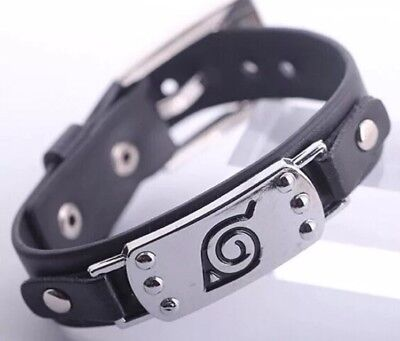 "Naruto Black Leaf Village Wristband Bracelet Cosplay Anime 8.5"" US Seller"