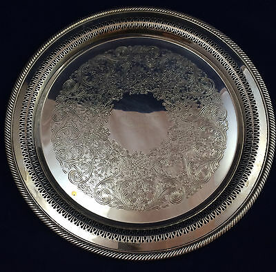"""Wm. ROGERS No. 172 Pierced GADROON 15"""" Round SILVERPLATE Butler's SERVING TRAY"""
