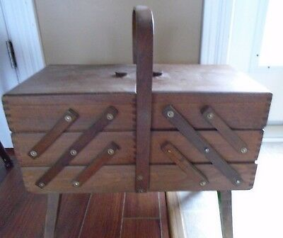 Vintage Hand Made Finger Jointed Expandable Wood Sewing Jewelry Box Basket