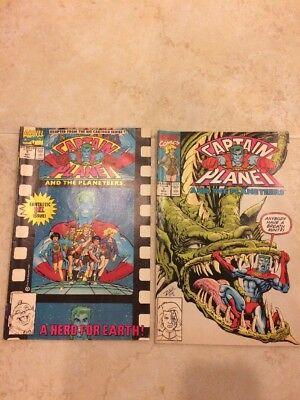 Captain Planet Lot of 2 Issues #1 and 2 Marvel Comics 1990s