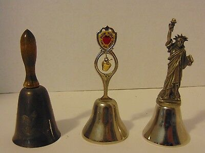 Vintage Collectible Metal New York Bells Lot of 3 Statue of Liberty Big Apple Mt