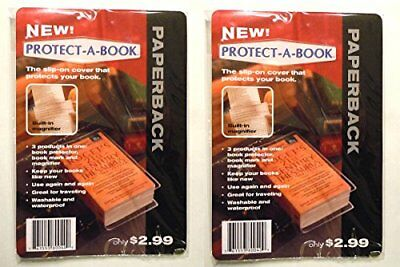 """Clear Book Protector Cover with Book Marker and Magnifier 7.5"""" x 5"""" (2 Pack) New"""
