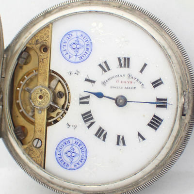 Antique Hebdomas 8 Day Sterling Silver Pocket Watch - Working