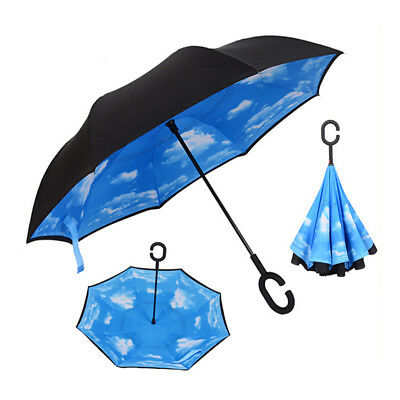 C-Handle Double Layer Umbrella Windproof Inverted Upside Down 12 Colors Dulcet
