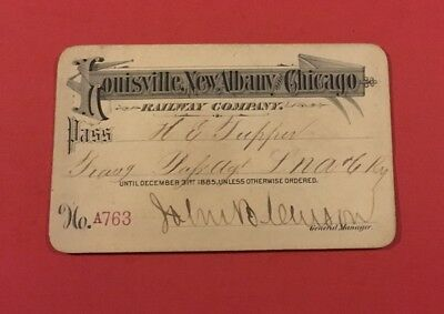 Louisville, New Albany and Chicago Ry. Co. 1885  Annual Pass for LNA&C Employee