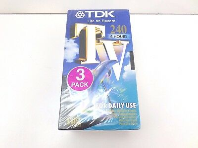 New Pack of 3 x TDK E240TVED VHS VIDEO CASSETTE BLANK TAPES 4 hour NEW T42