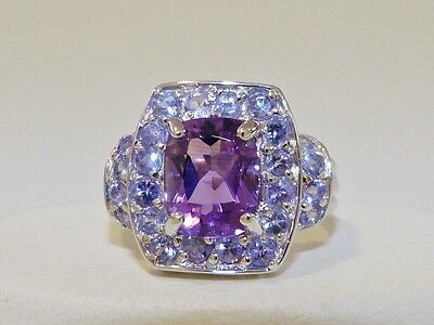 GENUINE! RARE 4.87tcw! Tanzanite & Amethyst Ring Solid Sterling Silver 925