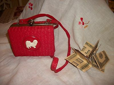 Vintage Red Leather Purse - Little Girl's Bag w Pekingese Dog & Whitman Money