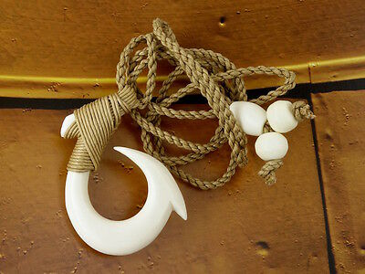 Maori Barbed Fish Hook Necklace, Hei Matau, Hand Carved, Lashed, Bone, Surfer