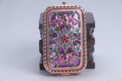 Exquisite handmade hollow out Inlaid diamond pink mirror flower   AD694a