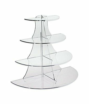 Source One 4 Tier Medium 10 Inch Acrylic Display 1/2 Circle Riser Cup Cake , Etc