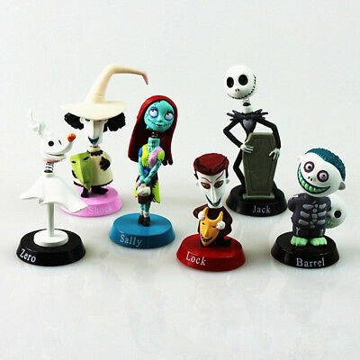 6 pcs Xmas NEW Nightmare Before Christmas Jack and Zero Figure Gift Toy C Topper