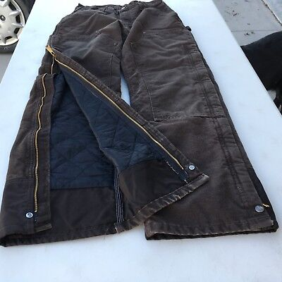 Carhartt Womens Duck Double Front Thick Quilted Insulated Pants Measures 30 x 30