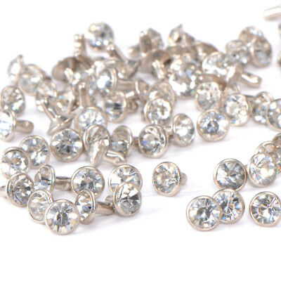 100pcs Rhinestone Silver Crystal Stud Rivets 7mm for Bag Clothes Coat Leather