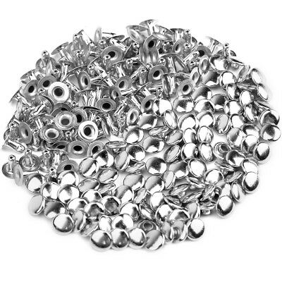 100X Rivets Stud Fasteners 6mm for Leather Tubular Cap  Belt Shoes Punk  Silver