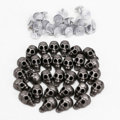 30Set Rock Style Skull Studs Spike Rivets Punk for Leather Belt Craft Bag Jacket