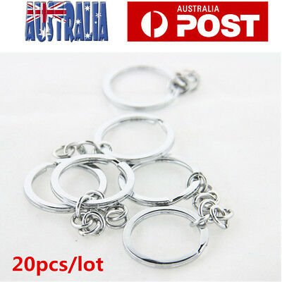 20PCS Keyring Blanks Silver Tone Key Chains Findings Split Rings 4 Link Chain AU