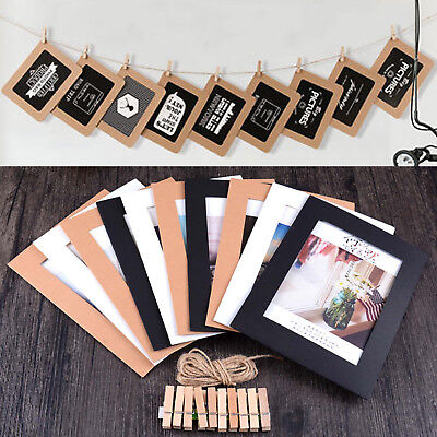 Set Paper Photo DIY Wall Picture Hanging Frame Album Rope Clip Set Home Decor