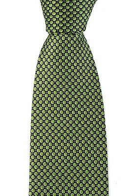 "BRIONI dis. n D040466 Green Black 3.25"" Polka Dots Woven Silk Neck Tie MSRP $295"