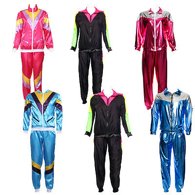 80s Mens Womens Scouser Tracksuit Shell Suit Shellsuit Fancy Dress Costume