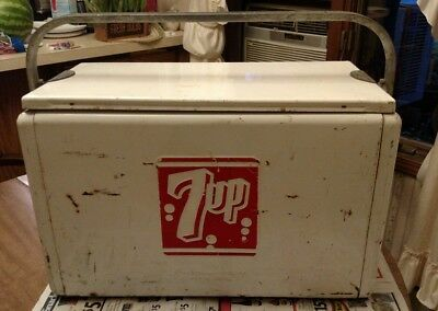 Vintage 7up cooler, Ice chest , advertising, sign .