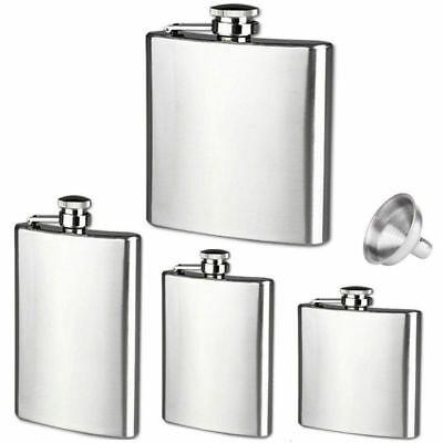 4 6 8 10 18oz Hip Flask Stainless Steel Pocket Drink Whisky Spirit Flagon Funnel