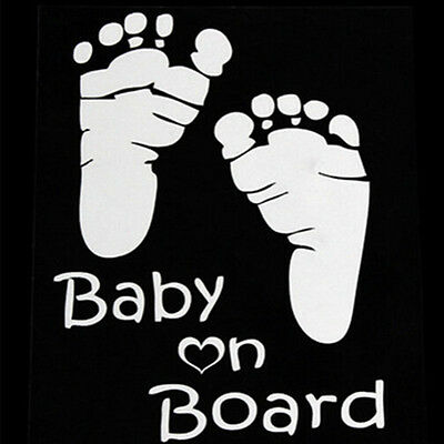Baby In Car Safety Sign Cute Car Decal / Vinyl Footprint Sticker Baby on Board