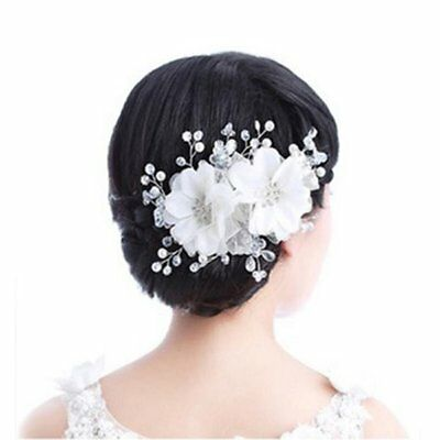 Adjustable Rhinestone Lace Flower Bridal Hair Headband Headpiece Weddings