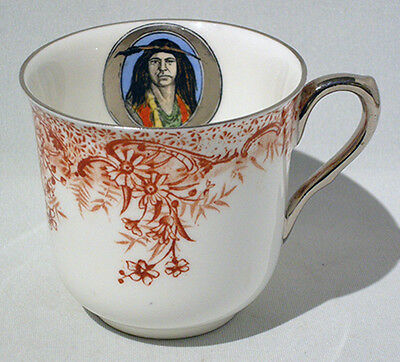 SHELLEY CHINA OJIBWAY NATIVE AMERICAN INDIAN Commemorative TEACUP ORANGE SIENNA