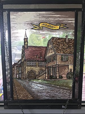 Vintage Stained Glass Art Custom Made for Gutenberg Staff 1976 Rare German Artis